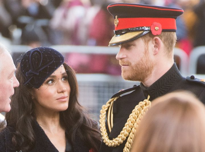 The Duke and Duchess of Sussex attend the 91st Field of Remembrance at Westminster Abbey on Nov. 7 in London.