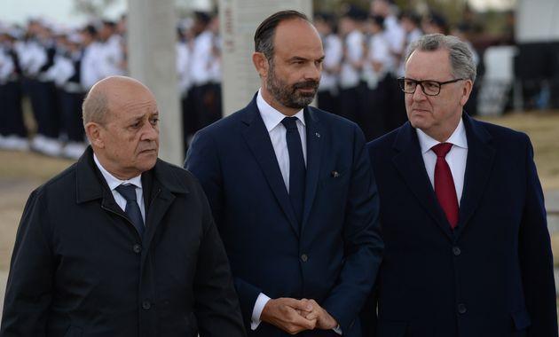 Jean-Yves Le Drian, Édouard Philippe et Richard Ferrand lors de la commémoration du débarquement...