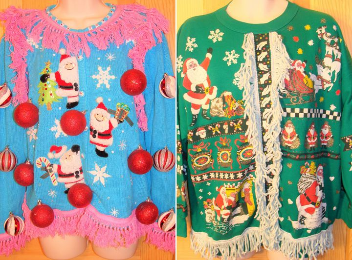 Some of Anne Marie Blackman's early ugly Christmas sweater designs.