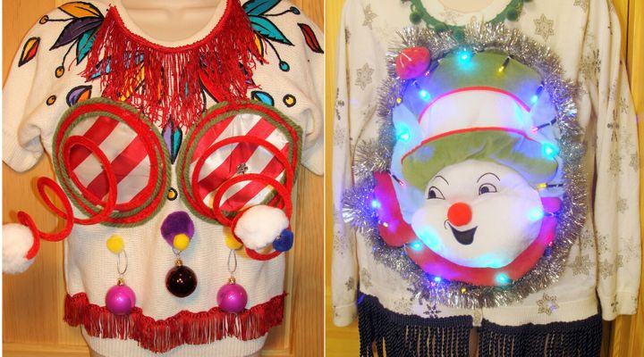 "Some of Anne Marie Blackman's early ugly Christmas sweater designs, including one of the ""springy boobie sweaters."""