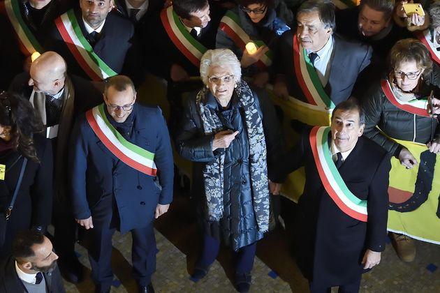 Liliana Segre accanto a Matteo Ricci, sindaco di Pesaro e a Beppe Sala, sindaco di Milano. Manifestazione...