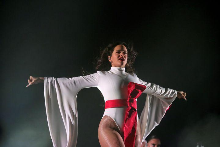 Rosalía, durante el concierto del Wizink Center de Madrid.