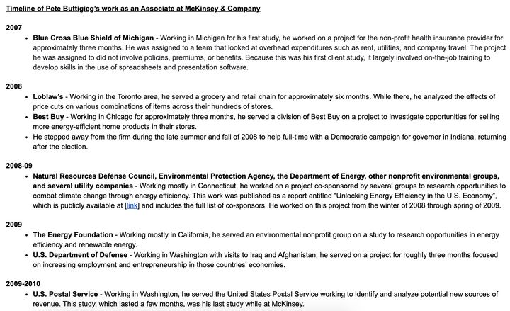 A list of Pete Buttigieg's clients at McKinsey.