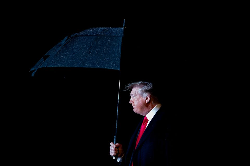 US President Donald Trump departs the White House in Washington,DC, on December 10, 2019. (Photo by JIM...