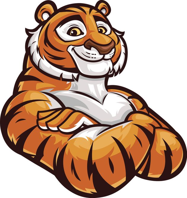 Smiling tiger with arms