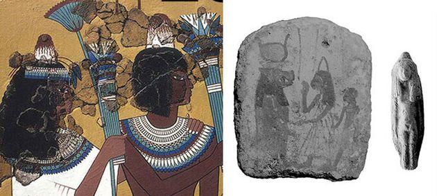 고대 아마르나 시대의 이집트 벽화와 조각에서 발견되는 고깔 모양의 머리