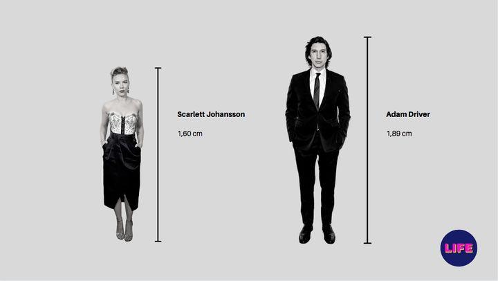 Diferencia de estatura de Scarlett Johansson y Adam Driver