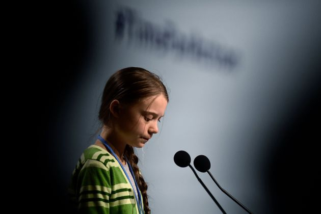 Swedish climate activist Greta Thunberg gives a speech during a high-level event on climate emergency...