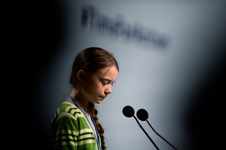 Swedish climate activist Greta Thunberg gives a speech during a high-level event on climate emergency Wednesday during the U.