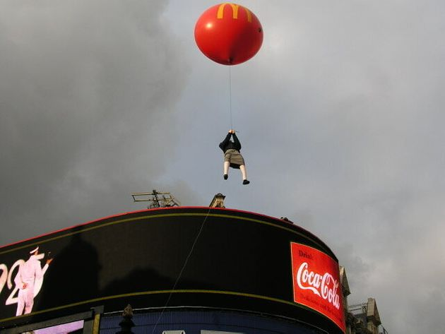 Banksy's floating girl was later struck by a