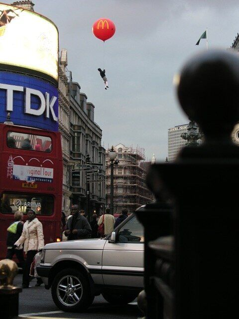 The stunt in London's busy Piccadilly Circus was one of several floating installations that Banksy unleashed...
