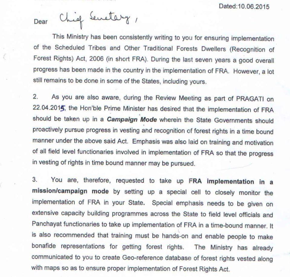 Excerpt from Tribal Affairs Secretary Arun Jha letter on FRA to Jharkhand Chief Secretary Rajiv Gauba....