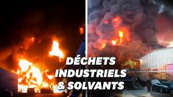 Les images spectaculaires de l'incendie d'une usine de recyclage près de
