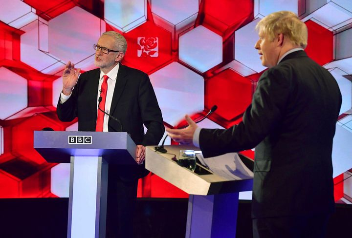 Opposition Labour Party leader Jeremy Corbyn, left, and British Prime Minister Boris Johnson, during a debate at the BBC TV s