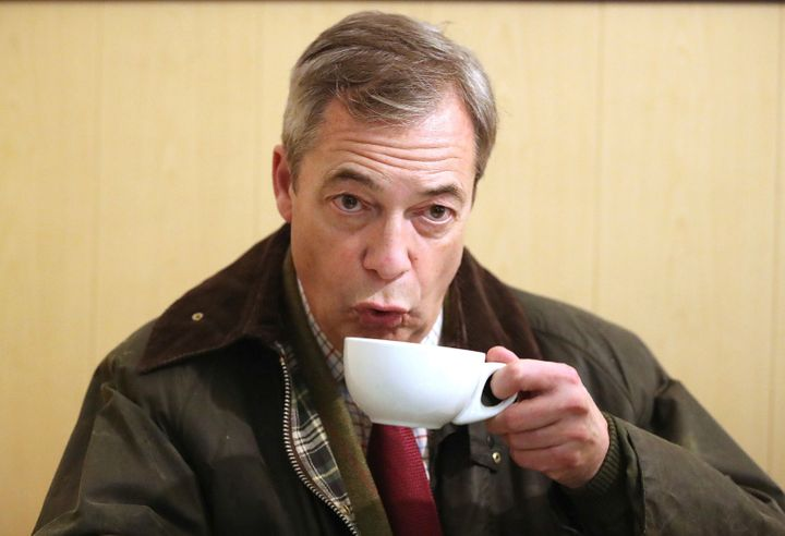 Brexit Party leader Nigel Farage sips a hot drink whilst on the General Election campaign trail in Hartlepool, England, in No