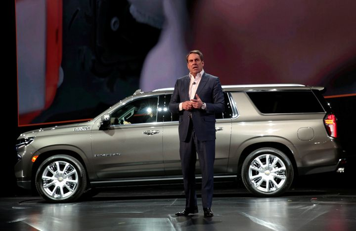 General Motors President Mark Reuss talks about the Chevrolet 2021 Suburban and Tahoe SUVs in Detroit, Michigan, U.S. Decembe