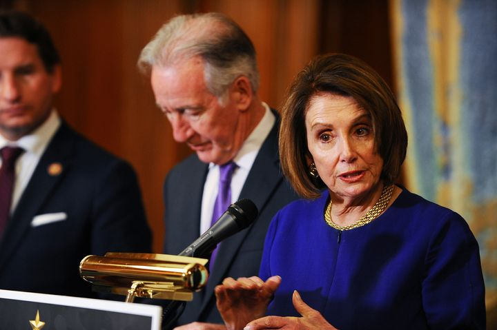 House Speaker Nancy Pelosi (D-Calif.), shown here with Ways and Means Chair Richard Neal (D-Mass.), has denounced the Trump t