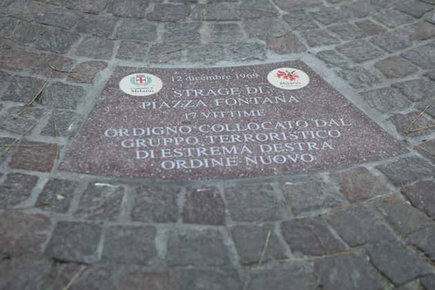 Laying of the stones in memory of the 50th anniversary of the massacre of Piazza Fontana in Milan, on...