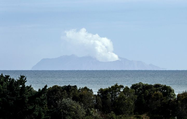 Plumes of steam rise above White Island off the coast of Whakatane, New Zealand, on Wednesday.