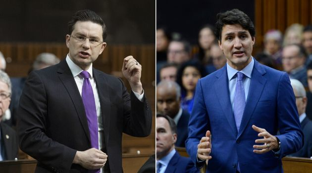 Conservative MP Pierre Poilievre and Prime Minister Justin Trudeau are shown in the House of Commons...