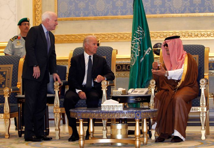 (Left to right) Sen. John McCain, Vice President Joe Biden and Saudi Foreign Minister Prince Saud Al-Faisal meet at Riyadh ai