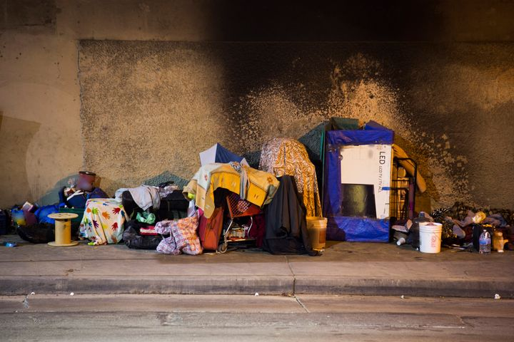 A Los Angeles homeless encampment.