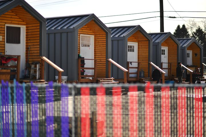 A tiny house community for formerly homeless people in Denver.