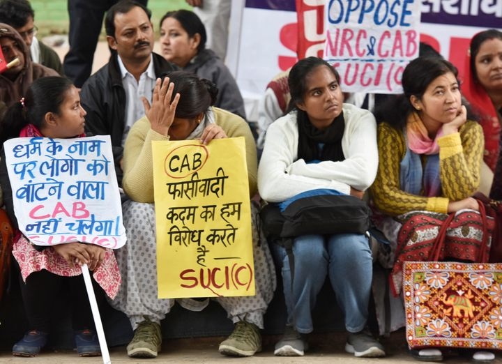 People from the northeastern states and CPI (M) workers during a protest against the government and the Citizenship Amendment Bill (CAB), on December 11, 2019 in New Delhi.