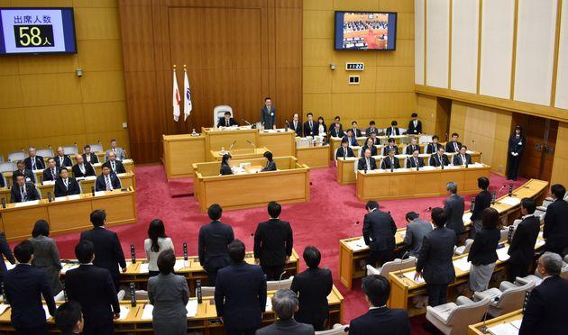 ヘイトスピーチに刑事罰を科す全国初の条例が可決、成立した川崎市議会本会議場=12日、川崎市
