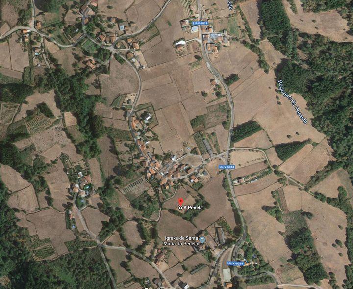 Mapa de A Penela, en Monforte de Lemos (Lugo).