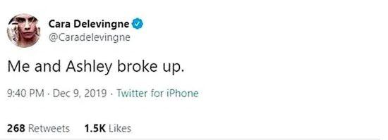 Le 10 décembre dernier, Cara Delevingne annonçait sa rupture avec Ashley Benson sur Twitter, avant de...