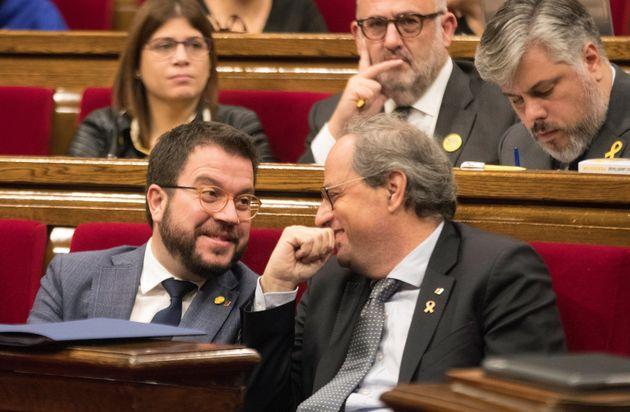 El presidente de la Generalitat, Quim Torra, junto a su vicepresidente, Pere Aragonés