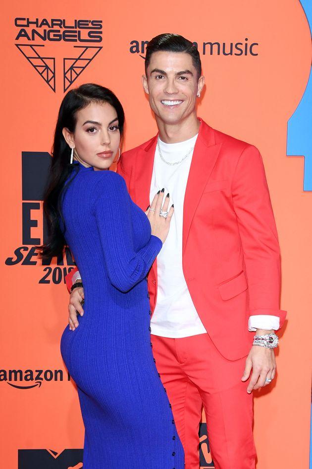 SEVILLE, SPAIN - NOVEMBER 03: Georgina Rodriguez and Cristiano Ronaldo attend the MTV EMAs 2019 at FIBES...