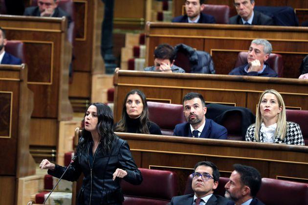 La portavoz parlamentaria de Ciudadanos, Inés Arrimadas, durante la sesión constitutiva de las