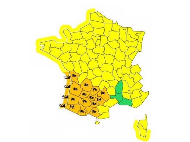 Météo France place 14 départements en vigilance