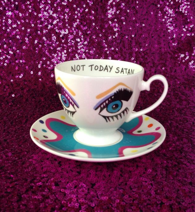 """Bianca del Rio """"Not Today Satan"""" Tea Cup And Saucer, Etsy, £27"""