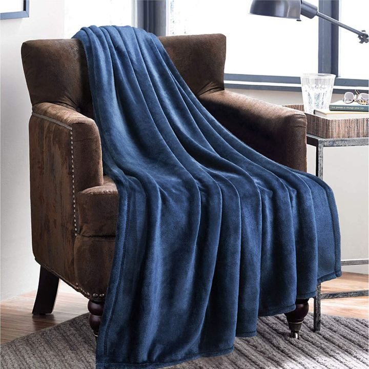 Bedsure Flannel Fleece Throw Blankets Navy Blue Travel Size, Amazon