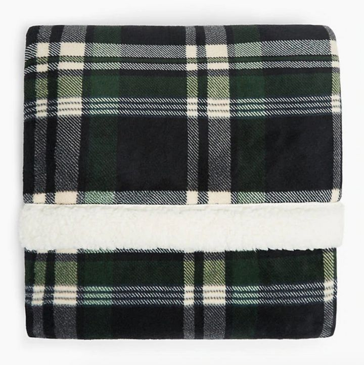 Fleece Checked Throw, Marks and Spencer