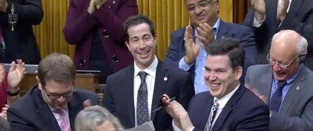 Liberal MP Anthony Housefather is applauded by colleagues during a speech in the House of Commons on...