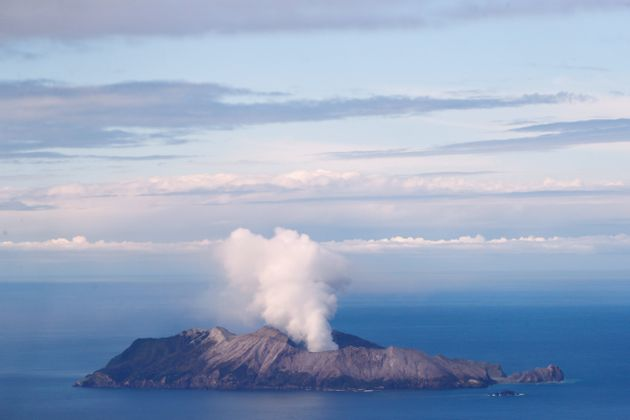An aerial view of the Whakaari, also known as White Island volcano, in New Zealand, December 12,