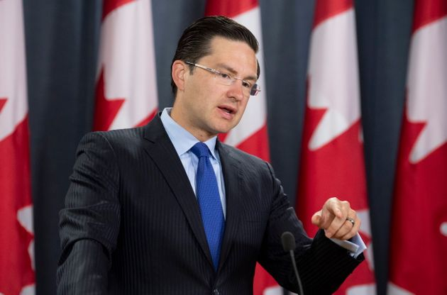 Conservative MP Pierre Poilievre speaks about the environment during a news conference in Ottawa on Aug....