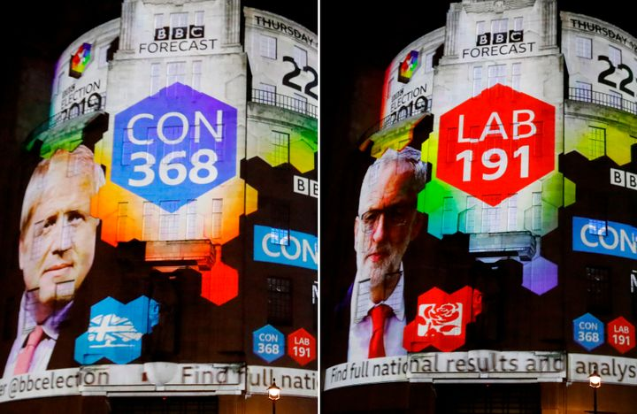 A combination of pictures shows the broadcaster's exit poll results with Britain's Prime Minister Boris Johnson's Conservative Party winning 368 seats (L) and Jeremy Corbyn's Labour Party winning 191 seats, on the outside of the BBC building in London, as the ballots begin to be counted in the general election, on December 12, 2019. (Photo by Tolga AKMEN / AFP) (Photo by TOLGA AKMEN/AFP via Getty Images)