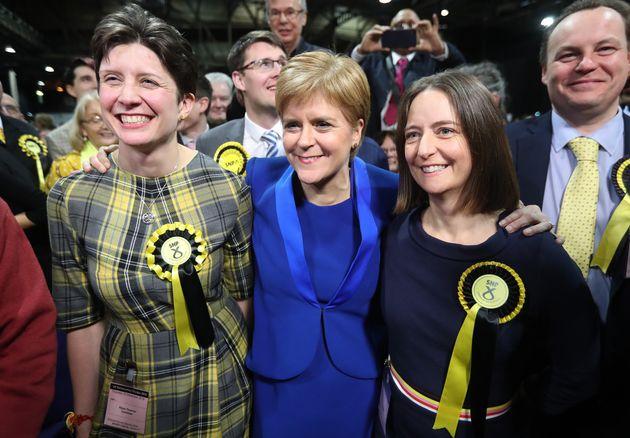 SNP Nicola Sturgeon with MPs Alison Thewliss and Carol Monaghan, who were both