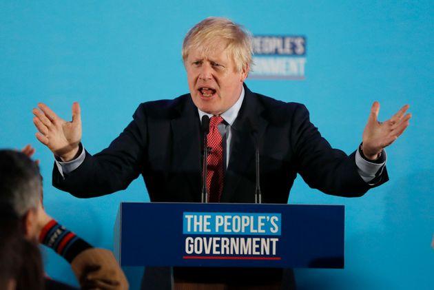 Boris Johnson lors de son discours de victoire le 13