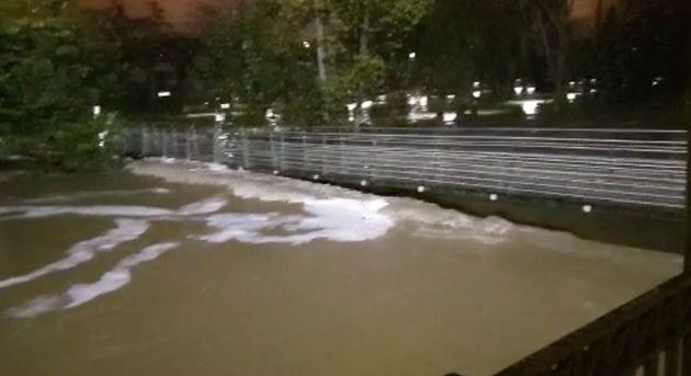El río Ultzama, desbordado en