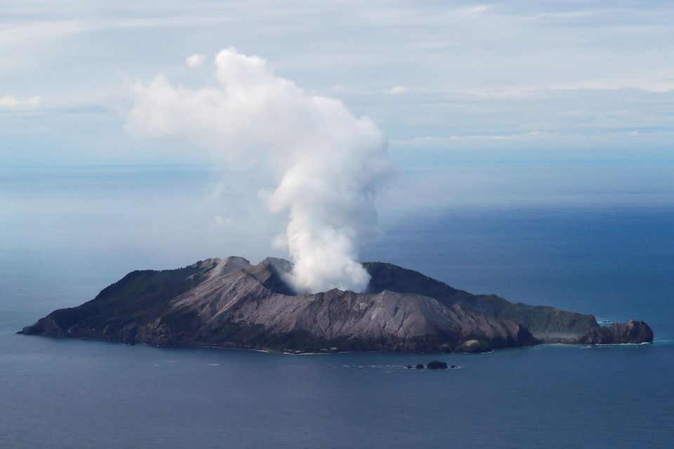 An aerial view of the Whakaari, also known as White Island