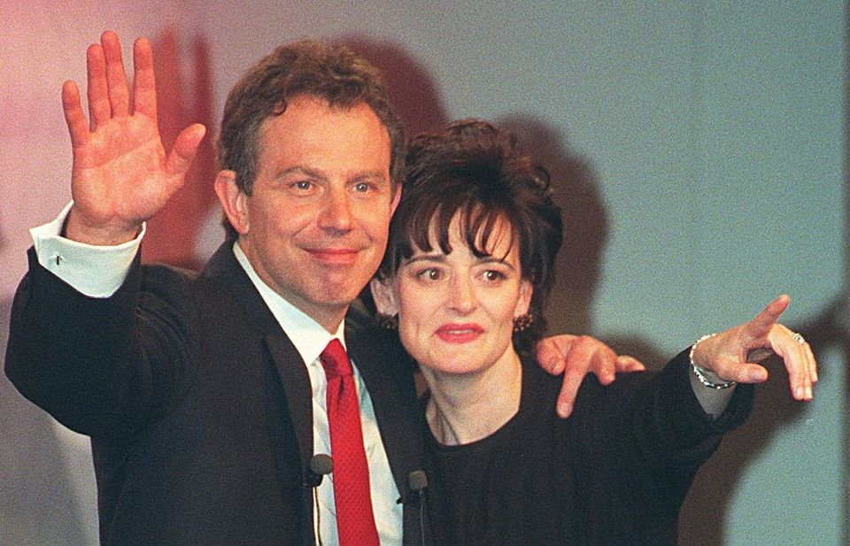 Tony Blair and his wife Cherie after Labour's landslide election victory in