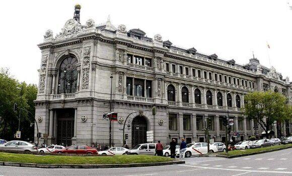 Edifico del Banco de España en la plaza de Cibeles y calle de Alcalá de