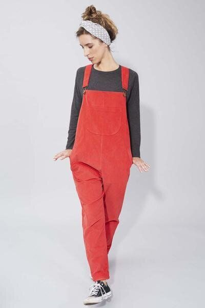 Doris Dungarees in Red Needlecord, Clary and Peg, £145.