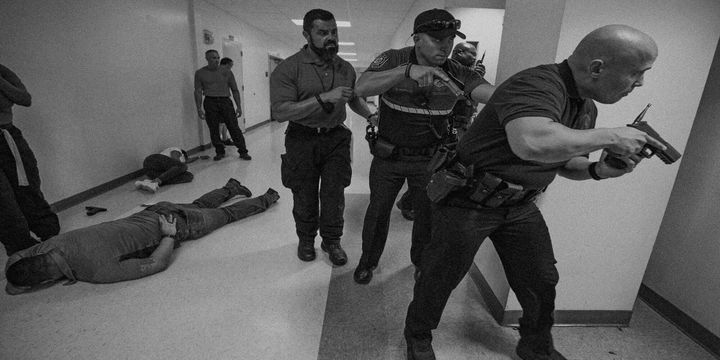 North Miami Police Department and Miami-Dade County Public Schools Police take part in an active shooter drill at North Miami